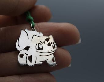 Silver Bulbasaur Pendant, with necklace - Pokémon - GOTTA CATCH 'Em All - Nickel Free