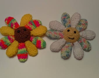 Cat Flower Toy, Crocheted Cat Toy, Crinkle Cat Toy, Crocheted Flower, Cute Cat Toy, Kitten Toy, Neon, Pastel, Yellow, Brown, Catnip Option