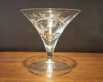 Etched Elegant Glass Sherbet