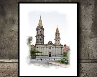 Chapala Church, Watercolor,Instant Download,Wall Decor,                  Mexico,Wall Decor, Printable Art,Canvas Print,Mexico Posters,Canvas