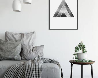 Black and White Abstract Watercolor Print 3 Geometric Art Print Minimalist Art Scandinavian Posters Large Prints Digital Download