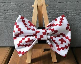 Burgundy Geometric Dog Bow Tie