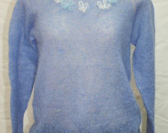 Blue Mohair Sweater, READY TO SHIP, Knitting sweater, knitted sweater, Hand Knit Sweater, Women's sweater, Knitting clothes