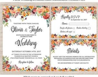Rustic Floral Wedding Invitation Suite / Fall Wedding Invitation Set / Autumn Wedding Invite / Printable Invitation Set / Fall Floral / 014