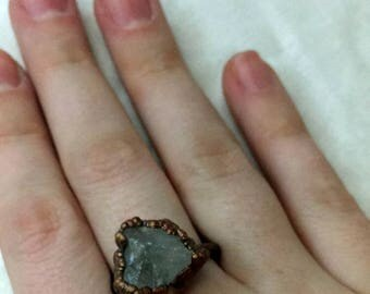 Quartz Crystal Ring, Quartz Ring, copper ring, quartz jewelry, gifts for her, electroformed ring, electroformed crystal, crystal jewelry