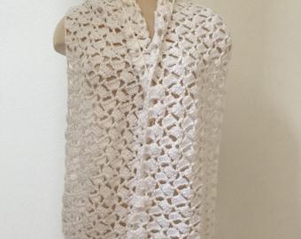 White Lace Wrap or Scarf, White Crochet Wrap, Crochet White Scarf, Evening Wrap, White Wrap, White Shawl