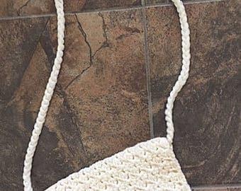White Crochet Macrame purse / handmade purse /  Bohemian Hippie/ crossbody purse / Macrame Accessories / Boho Style / Hippy Fashion