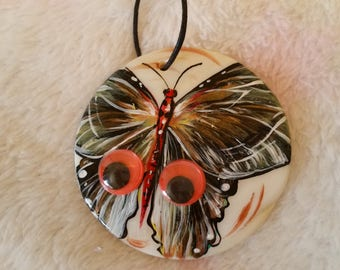 Flutter of Butterfly. Painting on a Seashell. Circle Necklace.