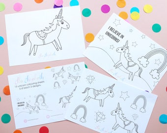 15 Unicorn Colouring Sheets A5   Party Activity