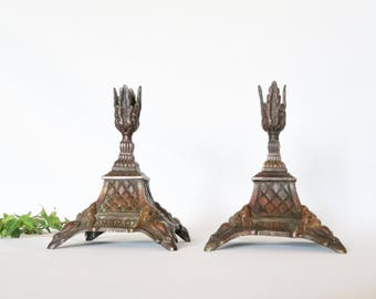 Set of 2 Antique French Sculpted Candlesticks, Foliage Candlesticks , Bronze Candle Holders, Home Decor, Art Nouveau, Made in France, 1940s