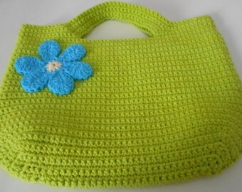 Bright Green Crochet Cotton Tote Bag with Cotton Lining