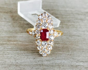 Incredible synthetic ruby and old cut diamond ring