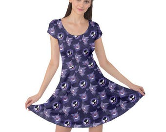 Haunter Short Sleeve Dress - Ghastly Dress Gengar Dress Haunter Evolutions Dress Pokemon Dress Comicon Dress Plus Size Dress Ghost Pokemon