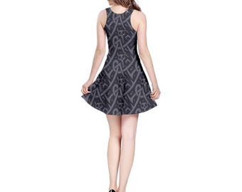 Dark Celtic Skull Dress - Skater Dress Celtic Pattern Dress Skull Dress Plus Size Dress Halloween Dress Goth Dress