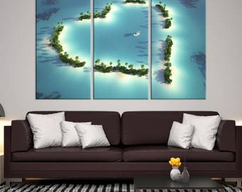 Large 3 Panels Wall Art Nature Canvas Print - A Boat Surrounded by Heart-Shaped Small Tropical Island, Housewarming Gift