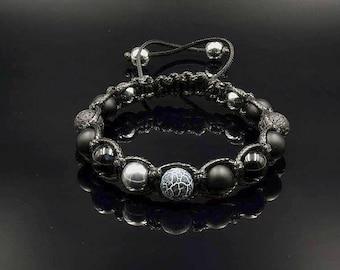 Men's Gemstone Bracelet Hematite Bracelet Beaded Bracelet Gift for Men Onyx Bracelet Men's Jewelry Agate Bracelet Shamballa Bracelet For Men