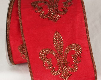 "LUXE Designer Ribbon: 4"" X 10yds, Copper Sequin Fleur-De-Lis Emblems On Red Color Ribbon, Copper Wire Edge, Full Roll - 2 Colorways"