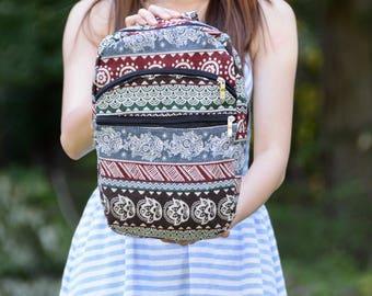Shoulder backpack, mini tribal backpack, sling backpack, traveler bag, small cute backpack, women backpack, summer school bag