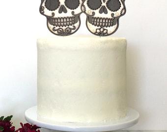 Personalized Sugar Skull Calavera Wedding Cake Topper | Custom Names | Dia De Los Muertos
