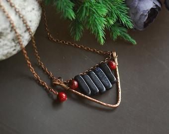 Copper Wire Necklace Copper Pendant Wire Jewelry Gemstone Necklace Long Copper Necklace copper wire jewelry Wire wrapped jewelry Hammered