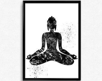 Meditating Buddha, Spirituality, Watercolor Print,  Poster, Room Decor, gift, print, wall art (140)