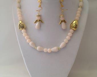 Beige Angel Necklace Clip Earring Set