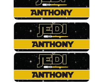 Jedi School Name Labels, Star Wars Waterproof Name Labels, Dishwasher Safe Name Stickers, Custom Daycare Labels, Sippy Cup Labels