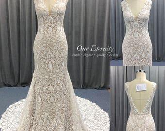 Wedding Dress Open Back Trumpet Lace Bridal Gown V-shaped