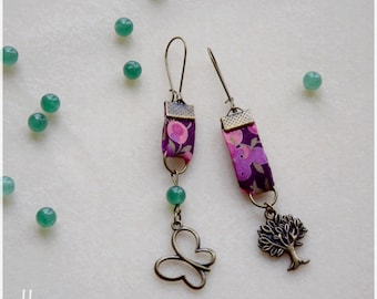 Earrings pink liberty fabric with Green Pearl, tree and Butterfly