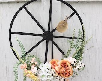 Sunflower, Peony and Hydrangea Wheel Wreath