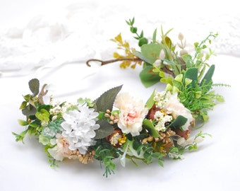 Set of wedding accessories Wedding Flower Crown Groom's Boutonniere Feather for father Dried flowers Floral Head Wreath Bridal Headpiece