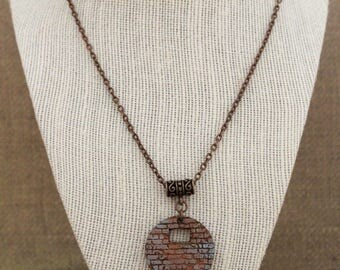 Copper Chain Necklace / Brick Wall Pattern Wood Pendant Chain Necklace