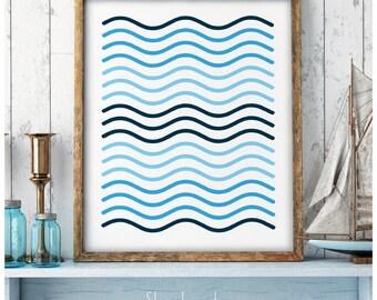 Blue Waves, Geometry waves, Minimalist wall art, Minimal Design, Scandinavian Art, Waves Poster, Wave Wall Art, Shades of blue, Waves Art