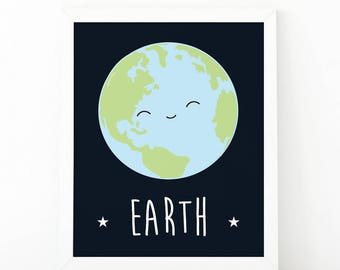 Earth print, planet print, Cute planet poster, nursery print, space theme, Educational poster for kids, Planet nursery print , outer space