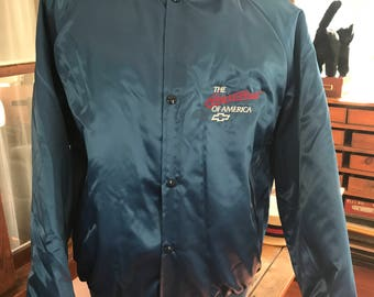 Vintage 1990's Heartbeat of America Satin Chevrolet Jacket