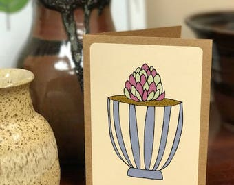 Purple Succulent Note Card