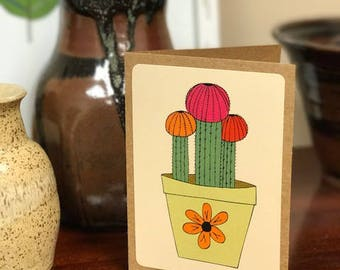 Pink Succulent Note Card