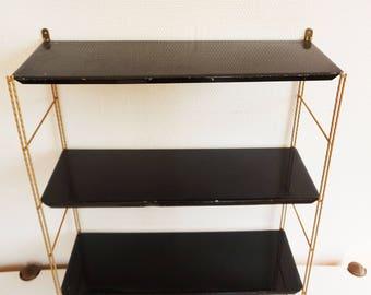 Shelf 1960 tomado vintage black and gold metal string