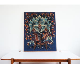 Large tapestry or canvas flower print 70s vintage