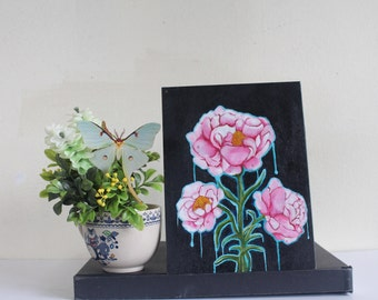 Surreal Peony Oil Painting ''Release'' 6x8