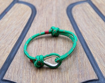 Handmade Customized Nautical Sailing Bracelet 925 Silver green red color | Personalized Men present | Adjustable size, Unisex