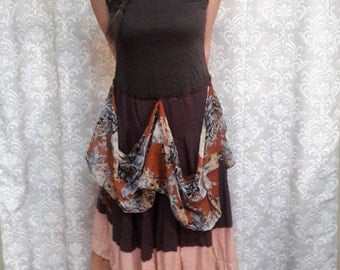 Hippie Dress, Brown Boho Dress, Eco friendly upcycled dress, Brown Gypsy Festival Dress