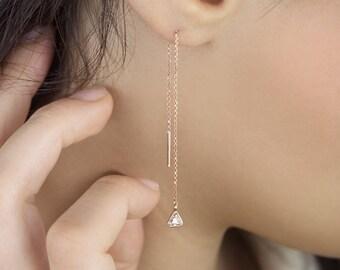 Diamond Birthstone Earrings, 14K Gold Earrings, Rose Gold, April Birthstone Earrings, Gold Chain Earrings, White Triangle Diamond Threaders