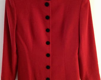 1970s Vintage Red CHRISTIAN DIOR Red and Black Military Style Blazer, Size 12