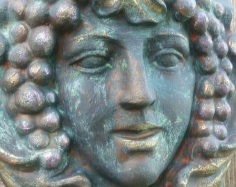 Cement Greenlady Garden Plaque ~ Fairy Garden ~ Greenwoman Cement Statue ~ Garden Deity ~ Nature Goddess ~ Garden Statue ~ Garden Nymph