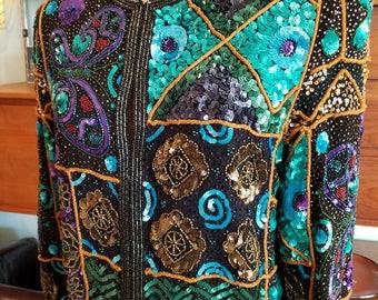 80s Designer Diane Freis Vintage Evening Jacket. Beaded. Sequins. Butterfly Print. Size Large