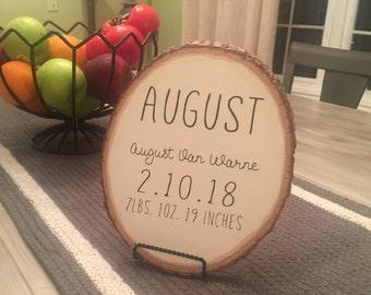 Basswood Rustic Birth Stat Sign