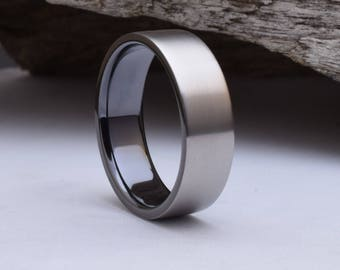 Wedding band men, with a dark interior and a brushed finish, mens titanium wedding rings,, titanium ring mens, mens titanium wedding band