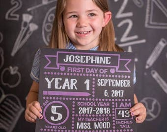 First Day of School Chalkboard Style Print - Back to School Sign - First Day of School Print - 1st Day of School Print - Kids 1st Day Print
