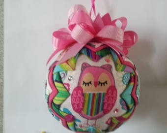 Whimsical Owls Quilted Ornament